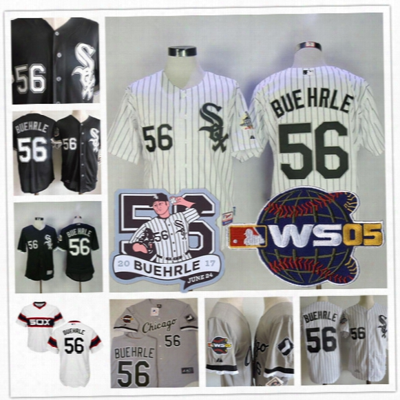Mens Chicago White Sox #56 Mark Buehrle Retirement Patch White Home Gray Road 2005 World Series Stitched Black Baseball Collection Jerseys
