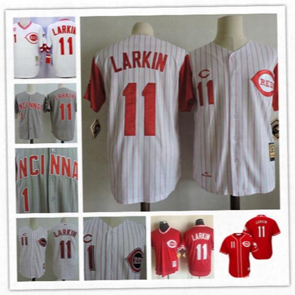 Mens Cincinnati Reds Barry Larkin White Cool Base Vest Jerseys 1993 Gray #11 Barry Larkin Throwback Cooperstown Baseball Jersey S-3xl