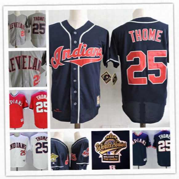 Mens Cleveland Indians Jim Thome Throwback Cooperstown Jersey Stitched #25 Jim Thome Indians Navy 1995 Cool Base World Series Jersey