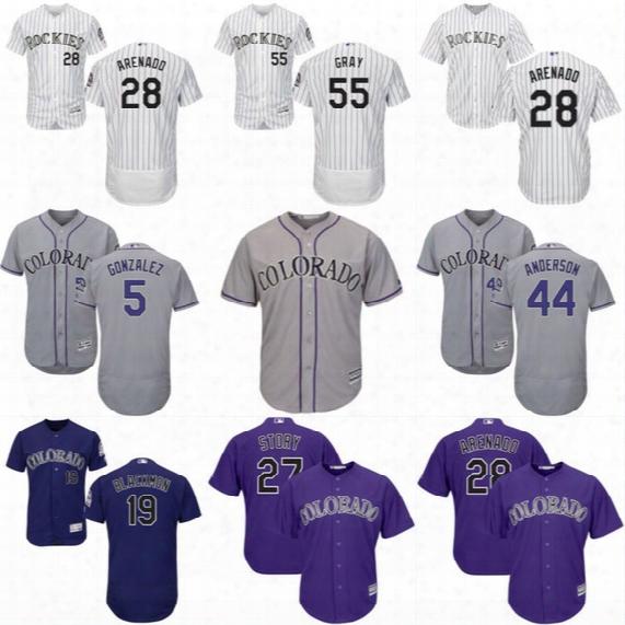 Mens Colorado Rockies Jersey 5 Carlos Gonzalez 19 Charlie Blackmon 20 Ian Desmond 27 Trevor Story 28 Nolan Arenado Baseball Jerseys