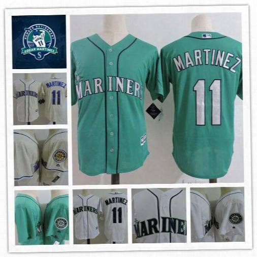 Mens Cream Seattle Mariners Edgar Martinez Retirement Patch Cool Base Jerseys #11 Edgar Martinez Mariners Throwback Baseball Jersey S-3xl