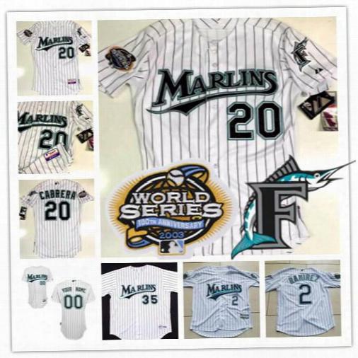 Mens Custom Florida Marlins 2003 World Series Jerseys 20 Miguel Cabrera 35 Dontrelle Willis White Pinstripe Stitched Baseball Jerseys S-3xl