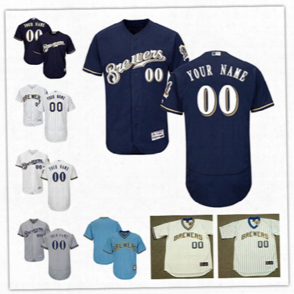 Mens Custom Milwaukee Brewers Throwback Cooperstown Jersey Stitched Milwaukee Brewers 2017 Flex Base P Ersonal Baseball Jerseys S-3xl