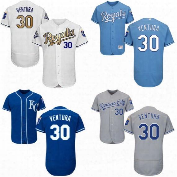 Mens Kansas City Royals #30 Yordano Ventura Jersey White Blue Gray Gold 100% Stitched Embroidery Logos Baseball Jerseys Mix Order