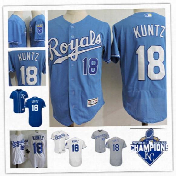 Mens Kansas City Royals Rusty Kuntz Cool Base Baseball Jerseys Stiched #18 Rusty Kuntz Royal S2015 World Series Champions Jersey S-3xl