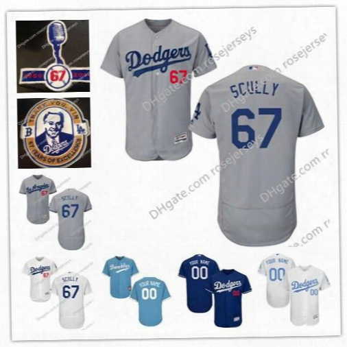 Mens Los Angeles Dodgers #67 Vin Scully White Blue White Gray 67 Years Final Microphone Patch Stitched Baseball Flex Base Jerseys S,4xl