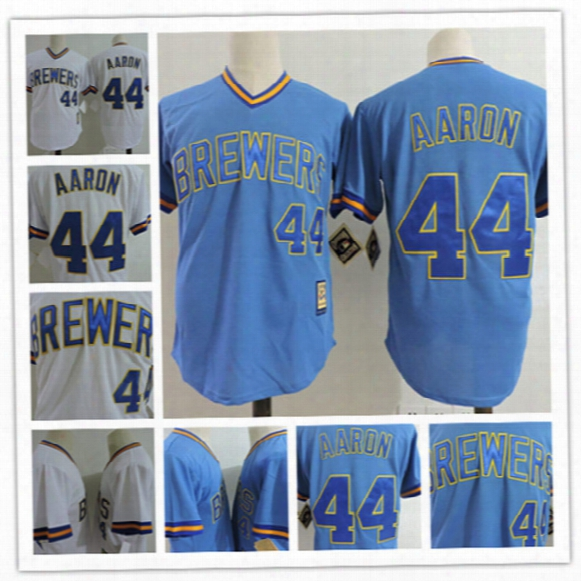 Mens Milwaukee Brewer #44 Hank Aaron White 1975 Throwback Cooperstown Jerseys Hank Aaron Brewers Blue Pullover Baseball Jersey S-3xl