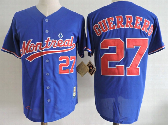 Mens Montreal Expos 2002 White Cooperstown Vintage Jersey Royal Blue 27 Vladimir Guerrero Expos Throwback Baseball Jersey S-3xl
