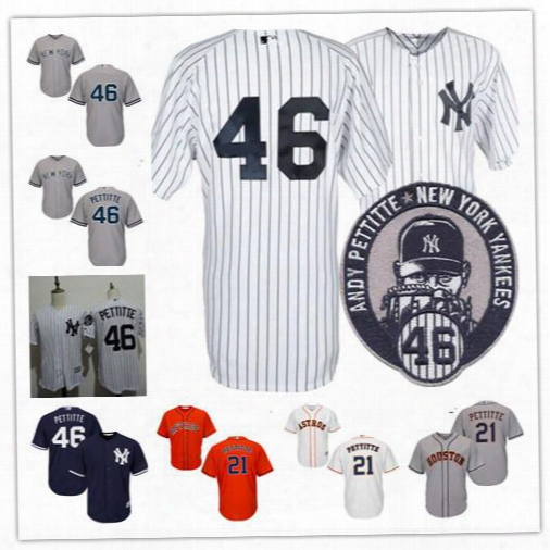 Mens New York Yankees #46 Andy Pettitte 2015 Retirement Patch White Home Gray Road Navy Blue Cooperstown Stitched No Name Astros #21 Jerseys
