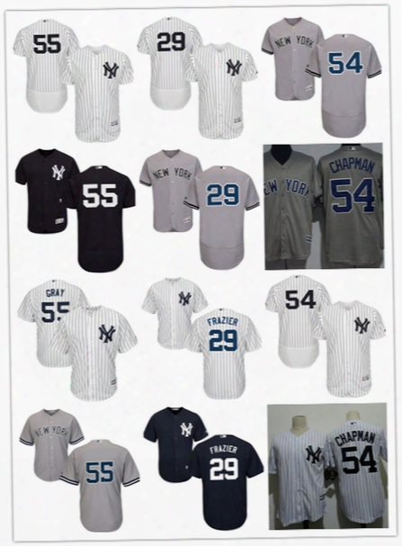 Mens New York Yankees Aroldis Chapman Cool Base Jerseys Stitched #55 Sonny Gray #29 Todd Frazier Ny Yankees Flex Base Jersey S-3xl