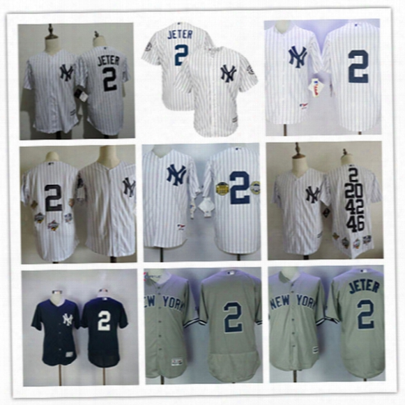 Mens New York Yankees Derek Jeter Home Retirement Patch Jersey #2 Derek Jeter Yankees Cool Base 5x World Series Champions Jersey