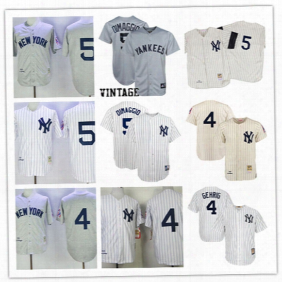 Mens New York Yankees Joe Dimaggio Grey Wool 1939 Throwback Jersey Stitched Lou Gehrig Ny Yankees Cool Base Cooperstown Jersey S-3xl