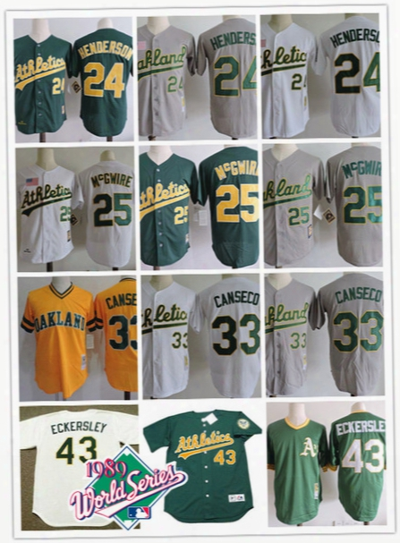 Mens Oakland Athletics Rickey Henderson 1989 World Series Jersey 25 Mark Mcgwire 33 Jose Canseco 43 Dennis Eckersley Athletics Jerseys S-3xl