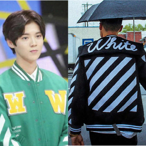 Mens Off White Official 1: 1 High Quality 2017 Hip Hop Jacket High Quality New Fashion Exo Splice Skateboard Baseball Jackets