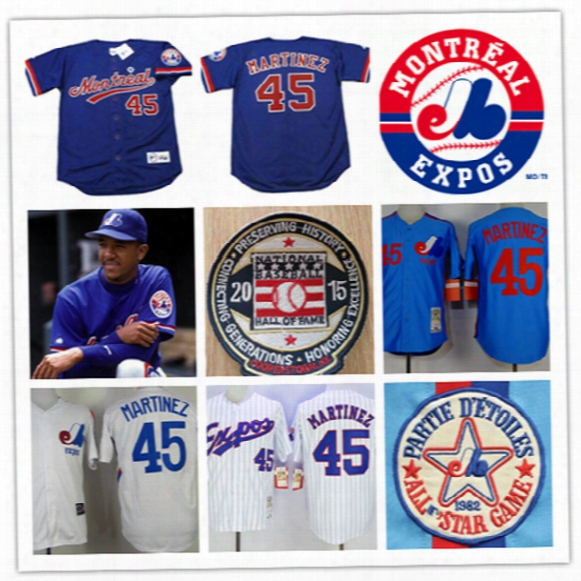 Mens Pedro Martinez Montreal Expos 1994 Throwback Vintage Jersey White Pedantic  45 Pedro Martinez Expos 2015 Hot Patch Baseball Jersey S-3xl
