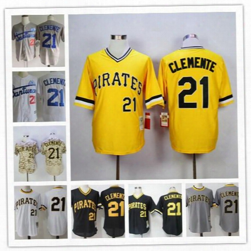 Mens Roberto Clemente Jersey Pittsburgh Pirates #21 1971 Cream Throwback Yellow Black Gray Road White Stitched Puerto Rico Vintage Baseball