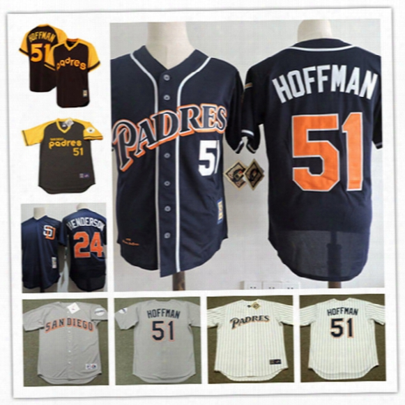 Mens San Diego Padres #24 Rickey Henderson Navy Cooperstown Mesh Jersey White #51 Trevor Hoffman Padres 1994 Throwback Baseball Jersey S-3xl