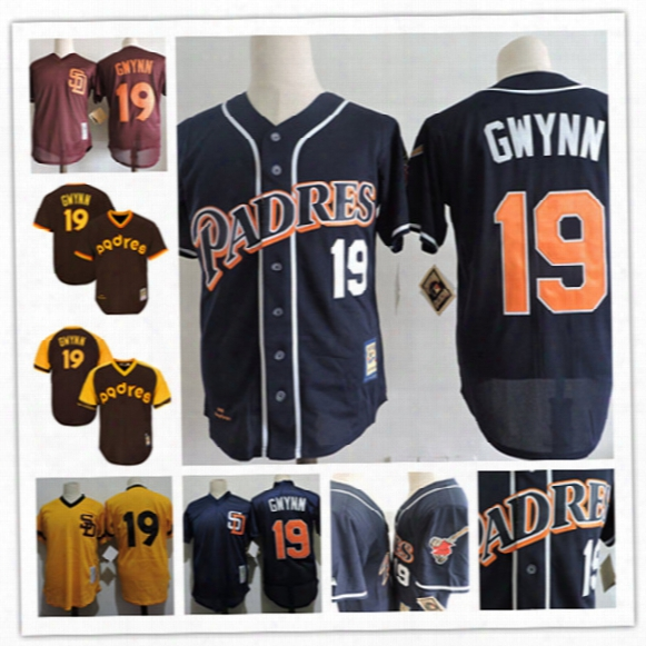 Mens San Diego Padres Tony Gwynn Navy Gold Cooperstown Mesh Batting Practice Jersey #19 Tony Gwynn Padres Throwback Baseball Jersey S-3xl