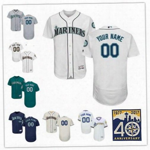 Mens Seattle Mariners Customized Cream Gray Navy Blue Teal Green White Pullover Sewn On Any Name Any Number Flex Base Baseball Jerseys S-4xl