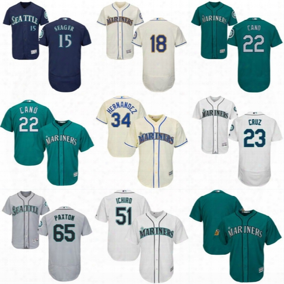 Mens Seattle Mariners Jersey 18 Hisashi Iwakuma 22 Robinson Cano 23 Nelson Cruz 39 Edwin Diaz 65 James Paxton Baseball Jerseys