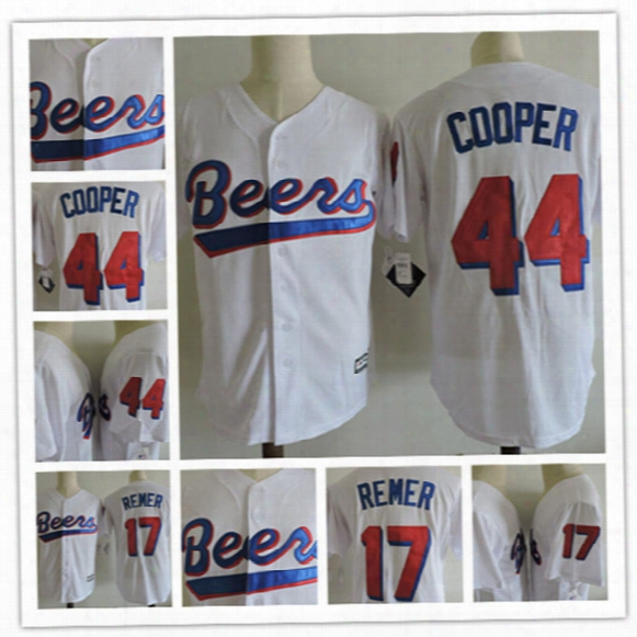 "Mens Stitched White The Baseketball Beers Movie Baseball Jersey #17 Doug Remer #44 Joe ""coop"" Cooper Baseketball Beers Jerseys S-3xl"