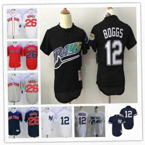 Mens Tampa Bay Rays #12 Wade Boggs Black Mesh Navy Gray Road White Home Yankees 1988 1995 Throwback Baseball Red Sox Jerseys S-3xl