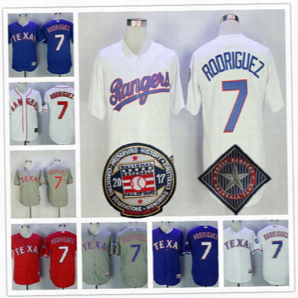 Mens Texas Rangers #7 Ivan Rodriguez 2017 Hall Of Fame Gray Road White Red Blue 1993 1995 All Star Throwback Stitched Baseball Jerseys