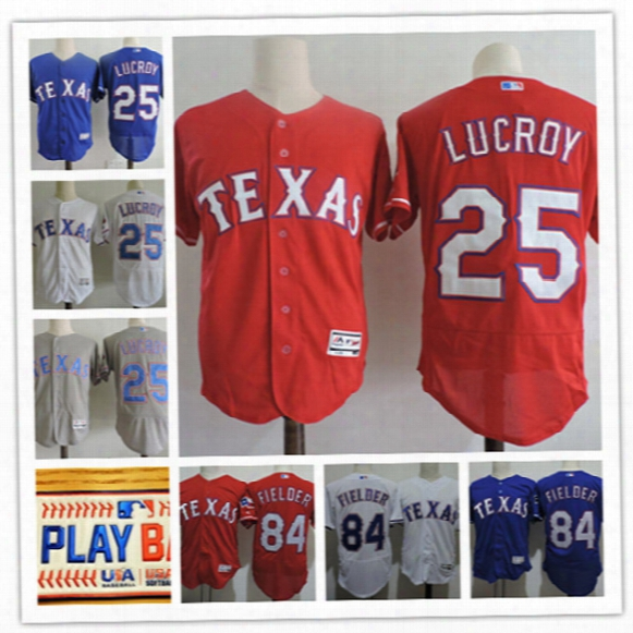 Mens Texas Rangers Jonathan Lucroy Play Ball Patches Flex Base Jerseys Red White Stitched #84 Prince Fielder Rangers Baseball Jersey S-3xl