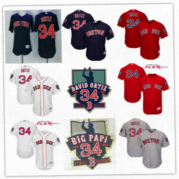 Mens White Boston Red Sox David Ortiz Retirement Patch Cool Base Jersey Stiched Navy Gray #34 David Ortiz Red Sox Flex Base Jersey S-3xl