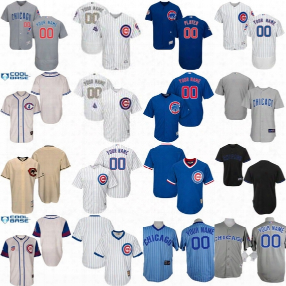 Mens Womens Youth 2017 Gold Program Custom Chicago Cubs Jerseys Personalized Authentic Collection Customized Stitched Baseball Jersey