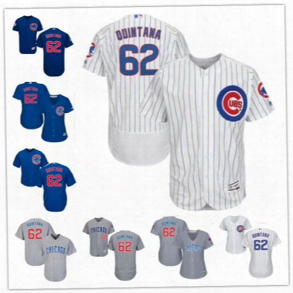 Mens Womens Youth Chicago Cubs 2017 New Trade #62 Jose Quintana White Home Royal Blue Gray Road Gold Cool Flex Base Stitched Jersey