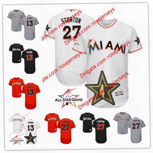 Miami Marlins 2017 All-star Game Worn Jersey #13 Marcell Ozuna 27 Giancarlo Stanton White Gray Road Orange Black Stitched Baseball Jersey