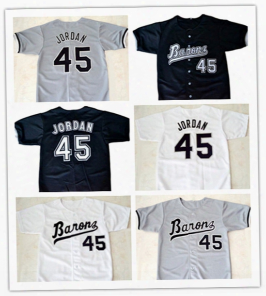 Michael #45 Birmingham Barons Button Down Baseball Jersey Mens Movie Jerseys All Stitched Embroidery Baseball Jersey