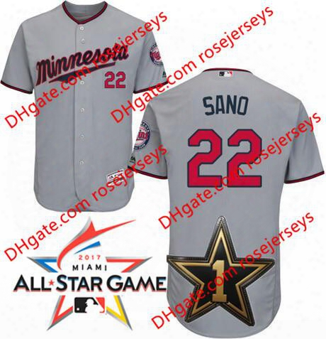 Minnesota Twins 2017 All-star Game Worn Jersey #22 Miguel Sano Gray Road White Navy Blue Pullover Flex Cool Base Stitched Baseball Jerseys