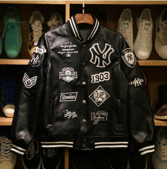 Mlb Men Jackets 2017 Brand Caual Mens New York Yankees Genuine Leather Coat Fashion Hip Hop Basketball Jacket Sweatshirts