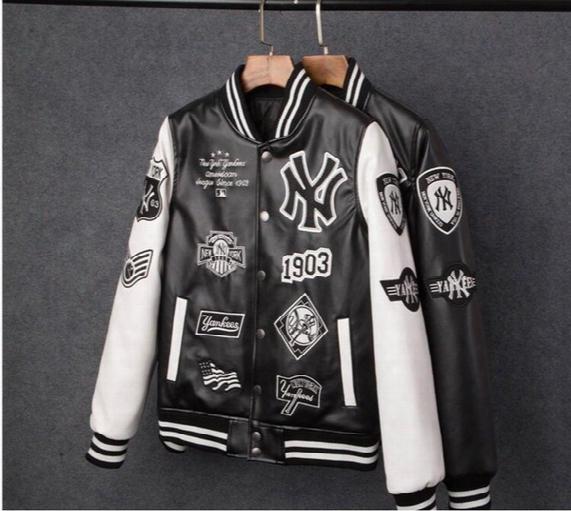 Mlb Men Jackets Brand Caual Mens New York Yankees Pu Coat Fashion Hip Hopembroidery Baseball Jacket Sweatshirts