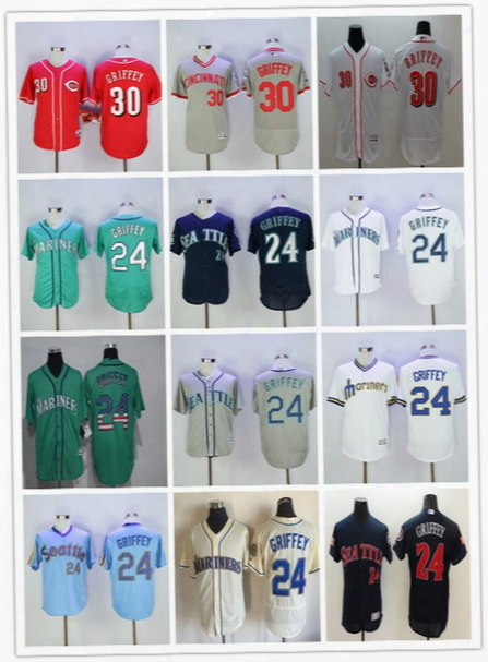 Mlb Seattle Mariners 24 Ken Griffey Jr Jerseys Green 2016 Hall Of Fame Patch Cheap Cincinnati Reds 30 Griffey Jersey White Red Blue Pullober