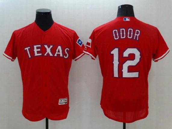 Mlb Texas Rangers #12 Odor New Men's Baseball Jerseys Red Grey Colors Blank Flexbase All Sizes Mix Order