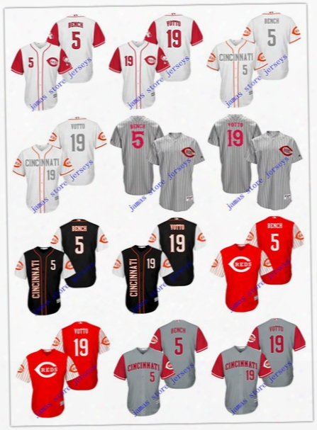 Mne's Cincinnati Reds Jersey 5 Johnny Bench 19 Joey Votto Stitched Authentic Throwback Baseball Jersey Embroidery Logo