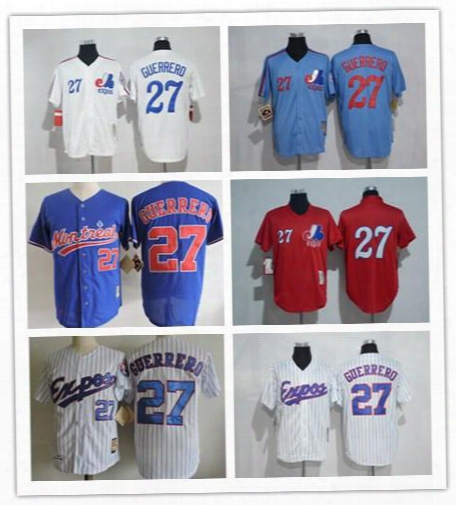 Montreal Expos Jersey 27 Vladimir Guerrero Jersey White Pinstrips Bule Cool Stitched Red Pullover Throwbakc Baseball Jersey Embroidery Logo