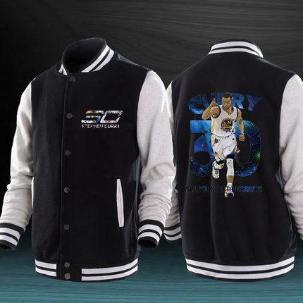 Net Hot Sale Basketball Golden State Stephen Curry Warriors Mens Baseball Jacket Casual Sweatshirt Sports Coat Baseball Uniform