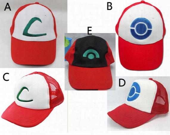 New 5 Styles Unisex Poke Ash Ketchum Trainer Hat Cap Adult Mesh Ball Caps Adult Costume Cartoon Mesh Trucker Baseball Hockey Sneaker Hat