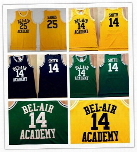 New Arrival 14 Will Smith Stitched Jerseys The Fresh Prinec 25 Carlton Banks Jersey Of Bel Air Academy Yellow Shirts Black Green