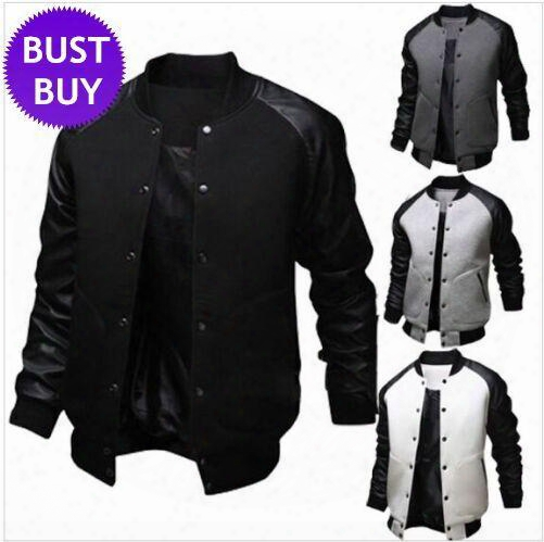 New Arrival Black Jacket Men Spring Fashion Mens Single Breasted Pu Leather Patchwork Baseball Jacket Brand Gray Jackets Free Shipping