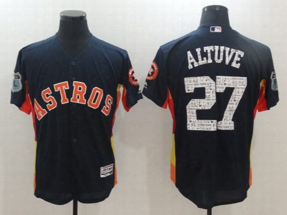 New Arrivals 2017 Mens Spring Training Baseball Houston Astros #27 Jose Altuve Majestic Blue Jerseys Stitched Free Drop Shipping