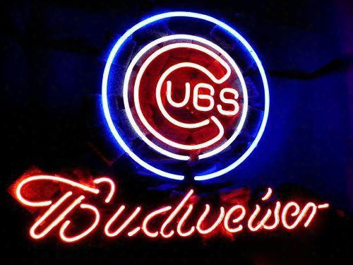 "New Chicago Cubs Baseball Budweiser Real Neon Light Beer Bar Pub Sign Size: 16"" 18"" 24"" 32"""