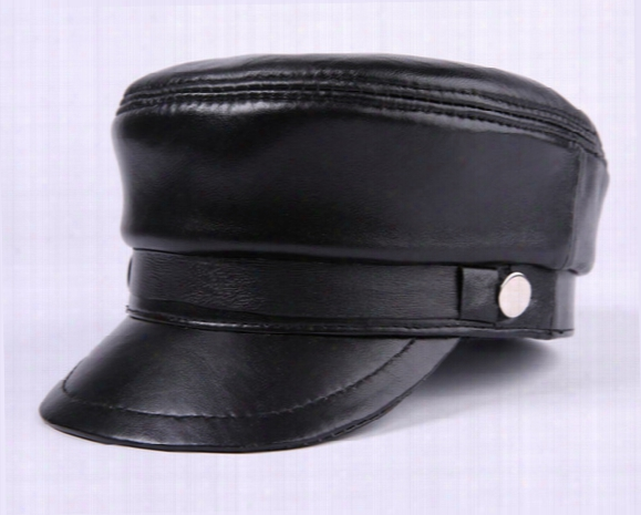 New Fashion Summer Leather Peaked Cap Baseball Hat Exterior Mens Tourist Cap
