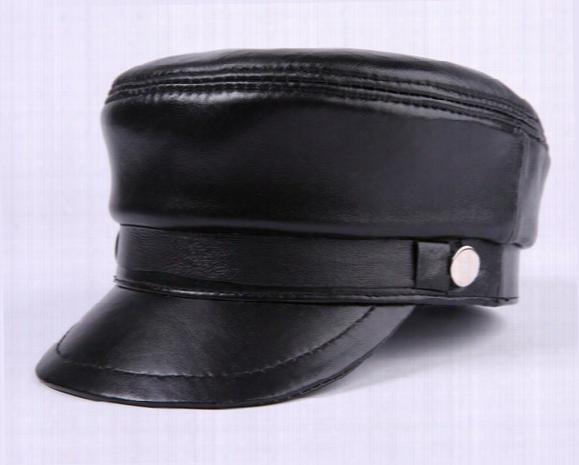 New Fashion Summer Leather Peaked Cap Baseball Hat Exterior Mens Tourist Cap