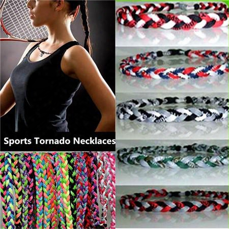 New High Quality Titanium Braided 3 Ropes Tornado Power Energy Necklaces 2in1 Sports Bracelet With Football Baseball Softball Lucky Chokers