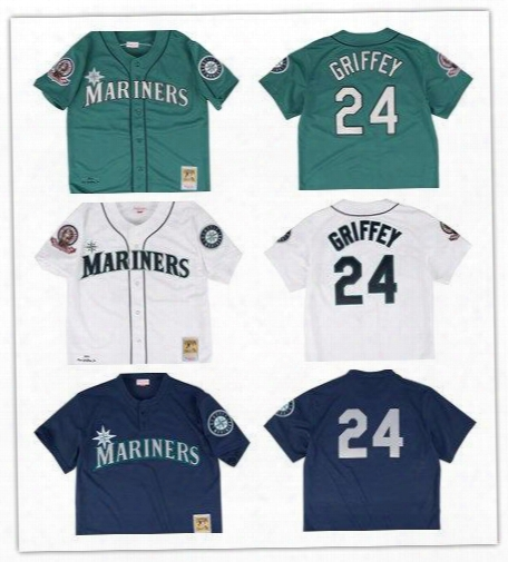 New Ken Griffey Jr. 1995 Authentic Jersey Seattle Mariners Color White Green Blue Shipping Free Size S -6xl